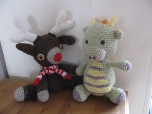 Murray the reindeer and Spike the dragon